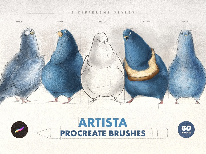 Artista Procreate Brushes collection pack set brush vintage sketch artistic hatching hatch grunge texture spray pencil character illustration painting sketching ipad procreate brushes