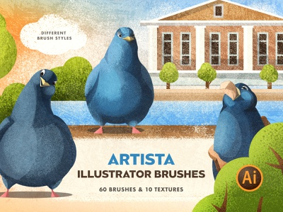 Artista Brushes for Illustrator noise shading artistic hatching hatch grunge texture spray character illustration painting paint draw drawing sketch brush vector brushes illustrator adobe