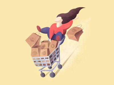 Rider on the Goods premium subscription design good bag thedesignest article blog illustration cart girl