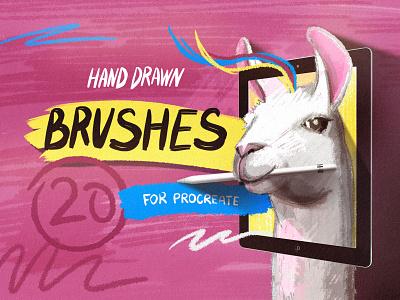 Hand Drawn Brushes for Procreate llama art llama cover marker pencil grain pastel creative hand drawn drawing art ipad digital illustrator sketch procreate brushe brush