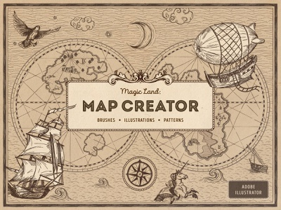 Magic Lands: Vintage Map Creator sky water antique navigation compass island ship border brushes pattern authentic clipart pirate fantasy vector nautical creator generator map vintage