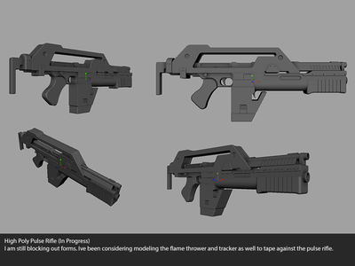 Pulse Rifle Progress game dev maya 3d