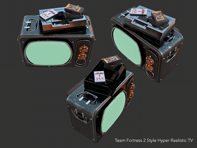 Team Fortress 2 Style Hyper Realistic TV 3d model tv environment art game dev pbr team fortress 2