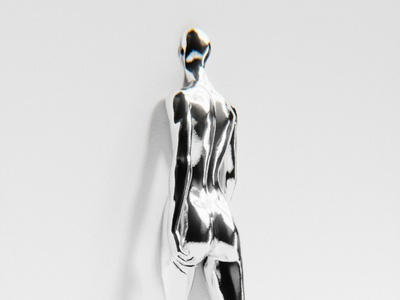 Entry female woman clean wall shiny silver chromatic chrome blendercycles blender3dart blender 3d blender3d blender 3d artist 3d art 3d minimal design graphicdesign graphic design