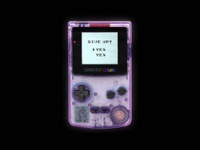 Give up? graphicdesign graphic design gamer game art games console handheld vintage retro game gaming gameboy gameboy color
