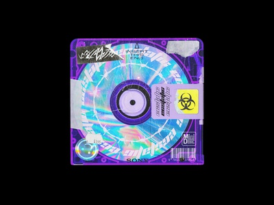 ECSTATIC - MiniDisc Cover Artwork cd case stickers colorful holographic grunge texture grunge graphicdesign design graphic design album cover art album artwork album cover album art album cd cover design cd artwork cd cover cd art cd minidisc