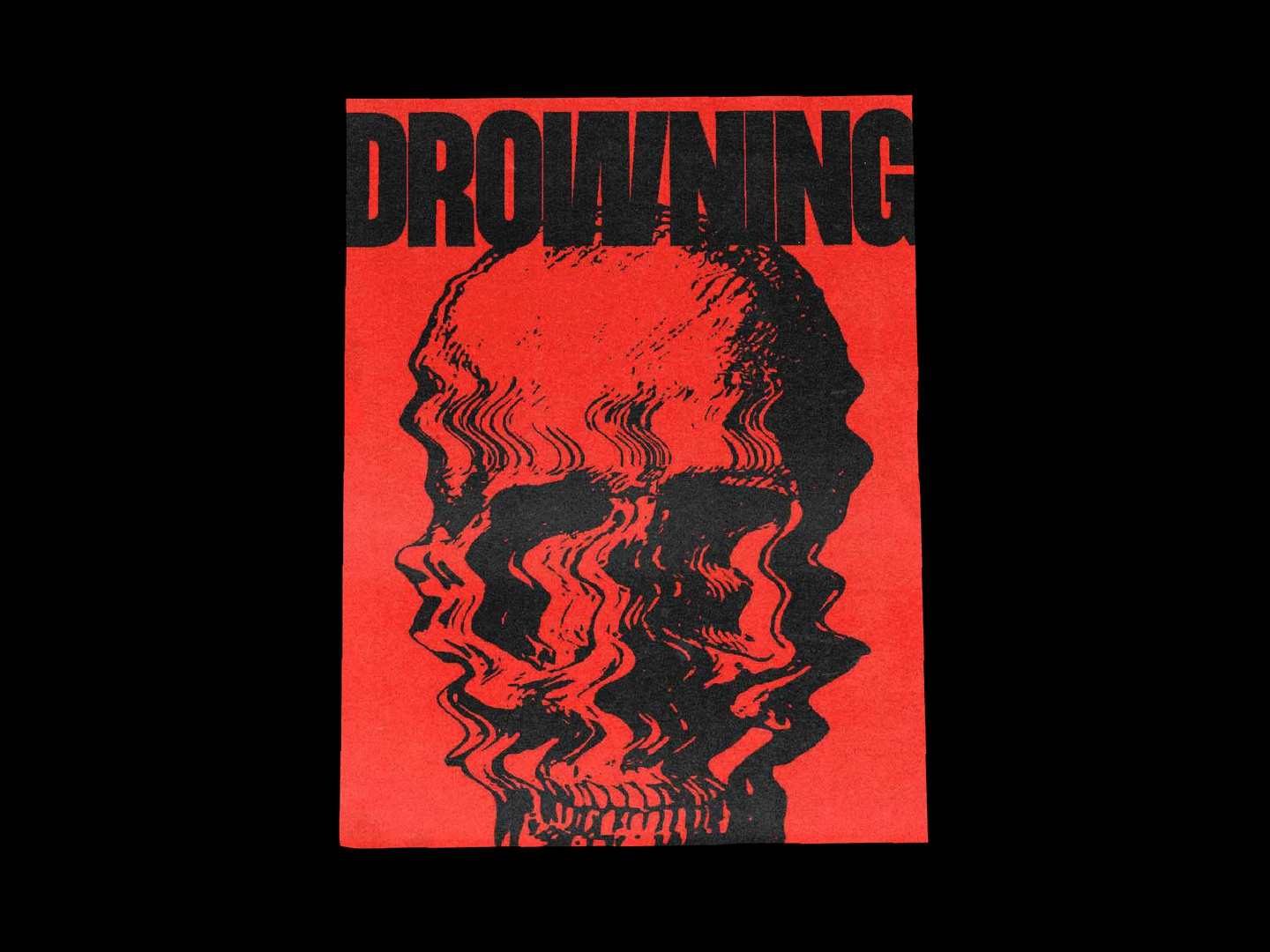 DROWNING — Poster Design red and black 2019 trend skulls poster a day poster art posters poster design poster bold font bold red drowning skull illustration typography type minimal design graphicdesign graphic design