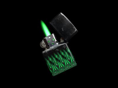 Green Flames - Zippo Lighter Design