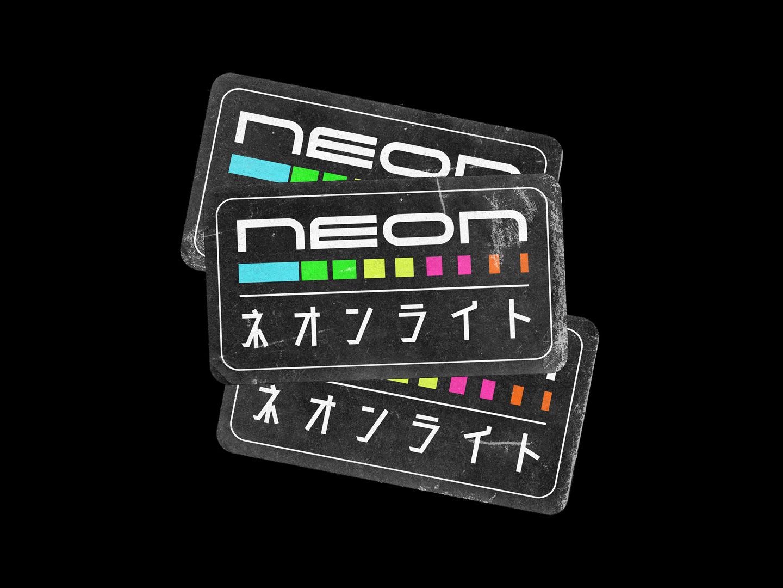 NEON - Sticker Concept cool worn grunge black concept sticker design stickers sticker colors japan japanese art japanese neon colors neon 2019 trend typography type design graphicdesign graphic design