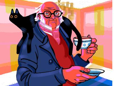 Teatime with friends portrait illustration vintage primary colors vintage style portrait black cat cat digital buildings texture people hand flat design illustration