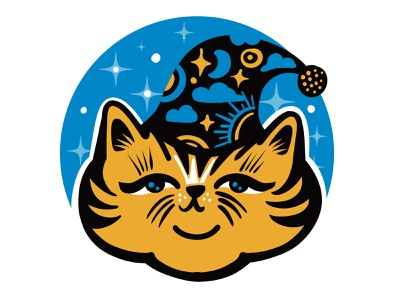 Wizard Cat Emblem moon stars sun emblem character design icon design character flat illustration wizard cat
