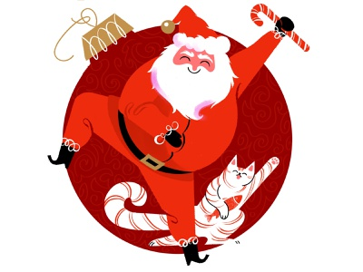 Dancing Santa and Friend fun joy dancing merry christmas candy cane santa cat holiday people character flat illustration