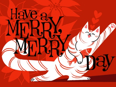 Joyous Christmas Cat poinsettia red kitty lettering retro vingage vintage fish hand lettering design illustration dancing holiday christmas candy cane cat