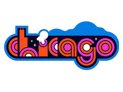 Chicago Baby hand lettering typography retro vintage 80s 70s art deco illlinois city branding logo vector design flat illustration windy city chicago