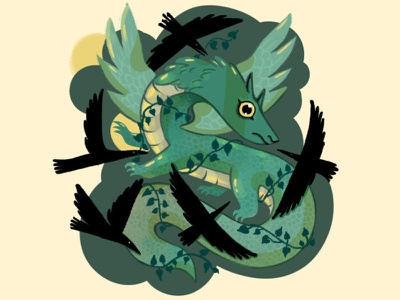 An Annoyance of Crows clip studio paint character texture digital painting dragon illustration crows mythology serpent flying serpent