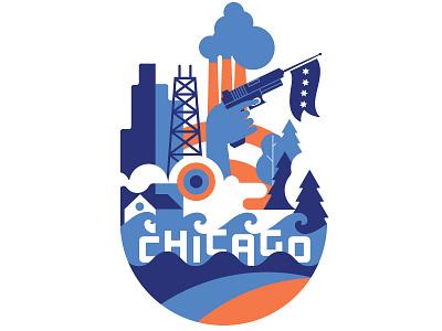 Chicago t-shirt - Cotton Bureau design illustration skyline cotton bureau t-shirt chicago