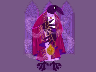 Ritual window corvid bishop character design smoke texture photoshop clip studio paint character thurible digital art illustration chain stained glass insense cleric priest costume robe crow