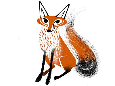 Happy Fox flat digital ink retroillustration retro orange digital art digital foxillustration fox illustration