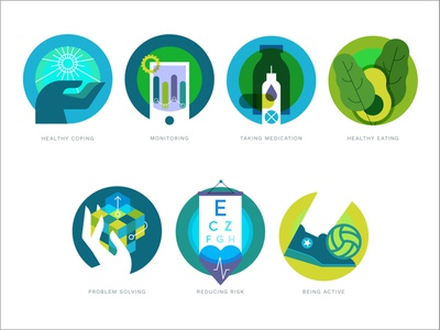 7 Healthy Behaviors health medication athlete foot soccer ball puzzle sun avocado spinach insulin iconography icon set icons branding vector design people hand flat illustration
