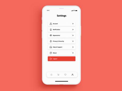 Settings app ux ui design