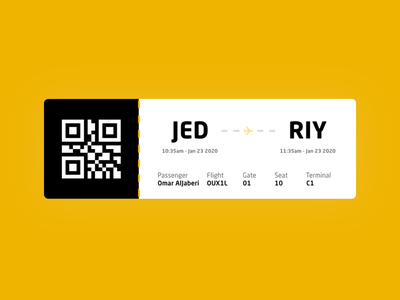 Boarding Pass plane flying 024 dailyui ux ui design