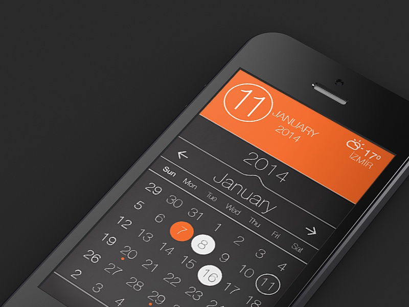 Calendar App Design : Free psd calendar app ui design by aliosmanis dribbble