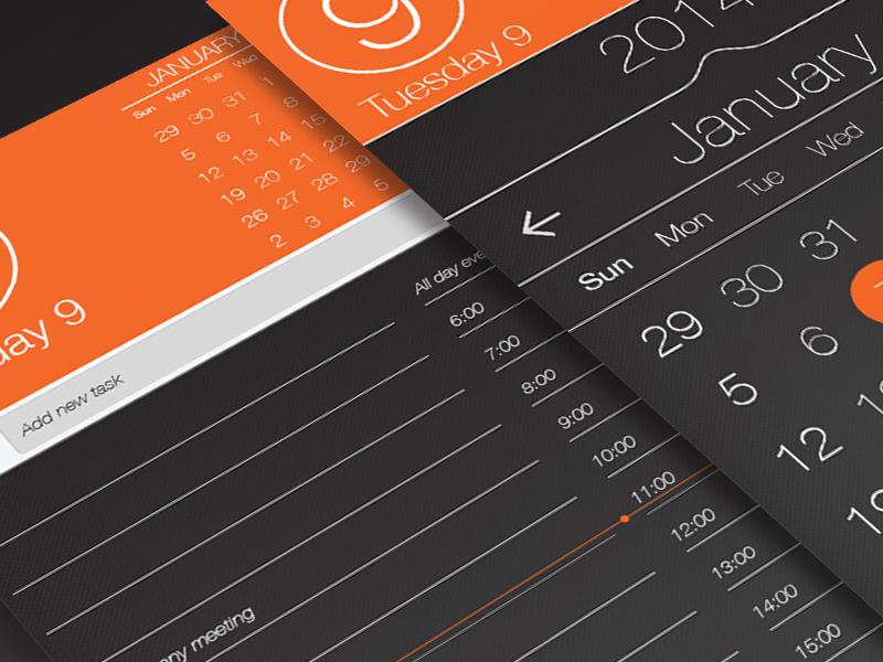 (Free PSD) Calendar app ui, task page..