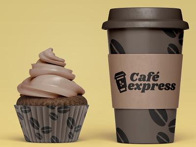 Café express mockup express coffee café design logotype logo design spain branding logo mockup