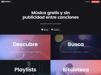 Freefy official website streaming app streaming music app music branding website design web design website web