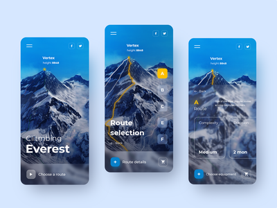 Everest climbing routes. APP discover website web design web ux ui design app