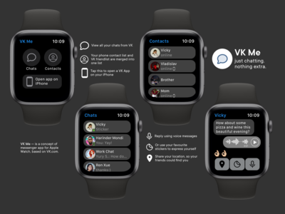 Concept of VK Messenger For Apple Watch