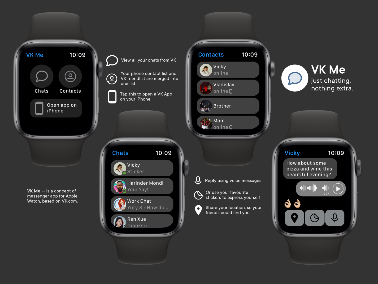 Concept of VK Messenger For Apple Watch by Robert Gadeev on Dribbble