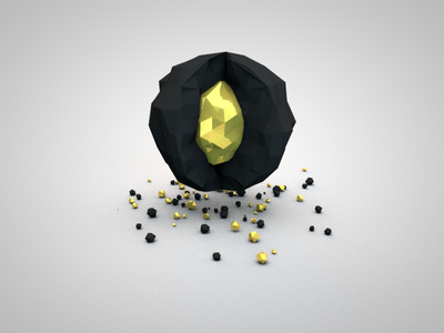 Gold Nugget Ball gold nugget low poly bling 3d c4d