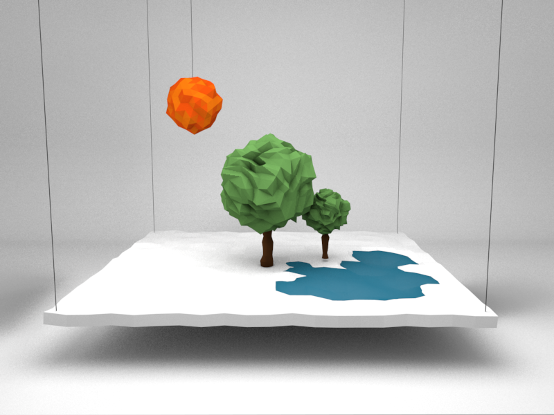 Fabricated Bliss landscape low poly 3d sun trees water c4d