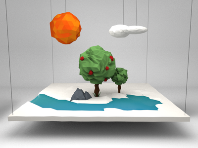 The Bliss Continues bliss landscape nature sun trees 3d low poly c4d