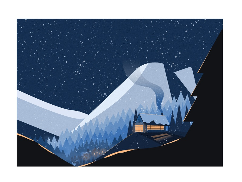 Après Ski house night winter christmas illustration