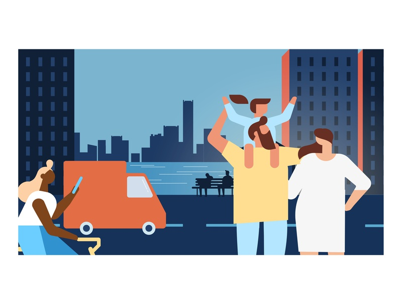Insurance Illustration characters city illustration