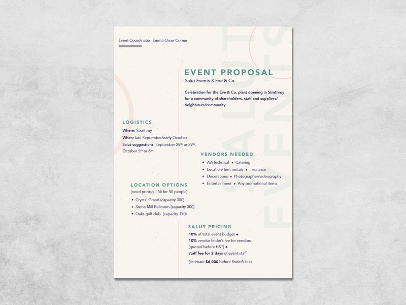 Salut Events Proposal document event print layout design