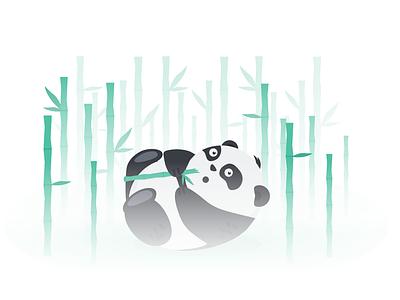 Panda Bamboo Forest cute animal cute bear animal eat asia gradient green black and white design illustration zenart zen chinese china asian forest bamboo panda bear panda