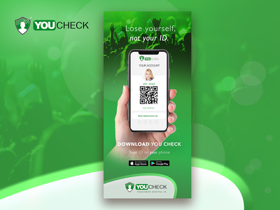 YouCheck Banner brand london promotion promotional material marketing collateral branding id security security app app photoshop design roller banner banner print