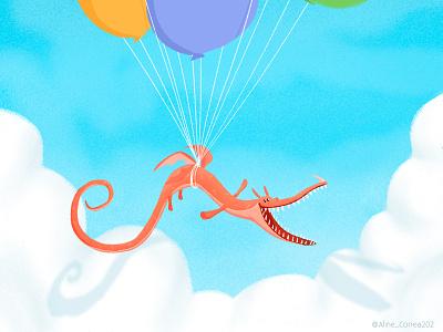 Balloons! dragon kidlitart kidlit kidsillustration illustration digitalart