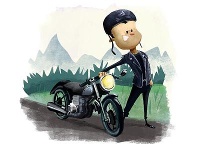 Biker cute children illustration children art kidlitart kidlit kidsillustration illustration digitalart