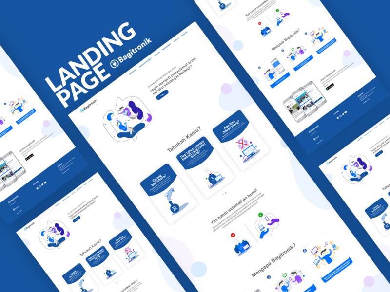 Landing Page - Bagitronik landing page blue illustration gradient color vector branding ui web  design web design