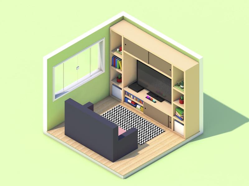 Living Room cinema4d isometric 3d room booking tv playstation livingroom living room