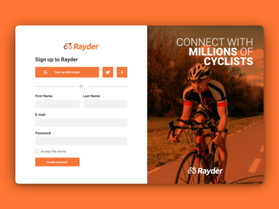Rayder - Sign Up (DailyUI #001)