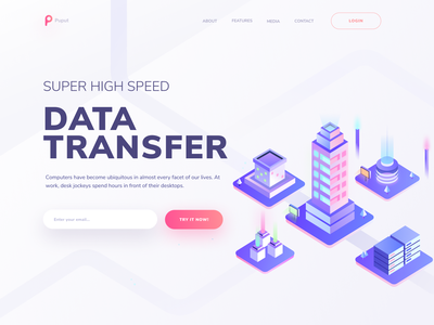 Super high speed data transfer digital crypto data blockchain character design website page landing hero city isometric illustration