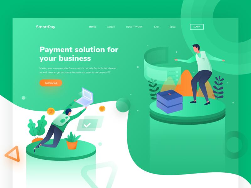 SmartPay Illustration Exploration financial finance header design website landing isometric illustration hero digital crypto character blockchain