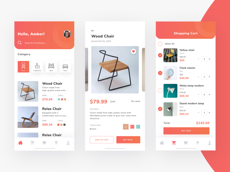 Furniture App Mobile ecommerce cart market place ux shoping furniture mobile app ui design