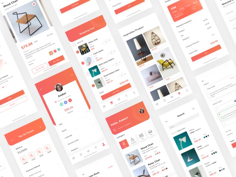 Furniture App All Screen market place cart payment furniture mobile app shopping ui  ux digital design