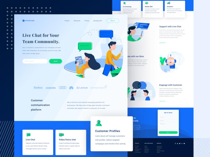 Live Chat For Your Team Community website web ux ui illustration homepage design